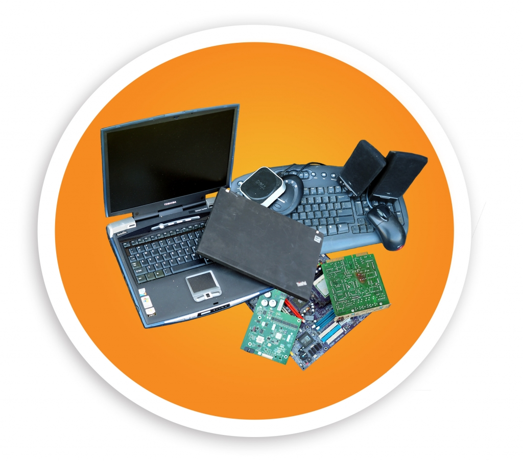 picture of a oval containing several E-Waste items including laptops, computer accessories, and circuit boards. NLR recycles many different types of E-Waste.