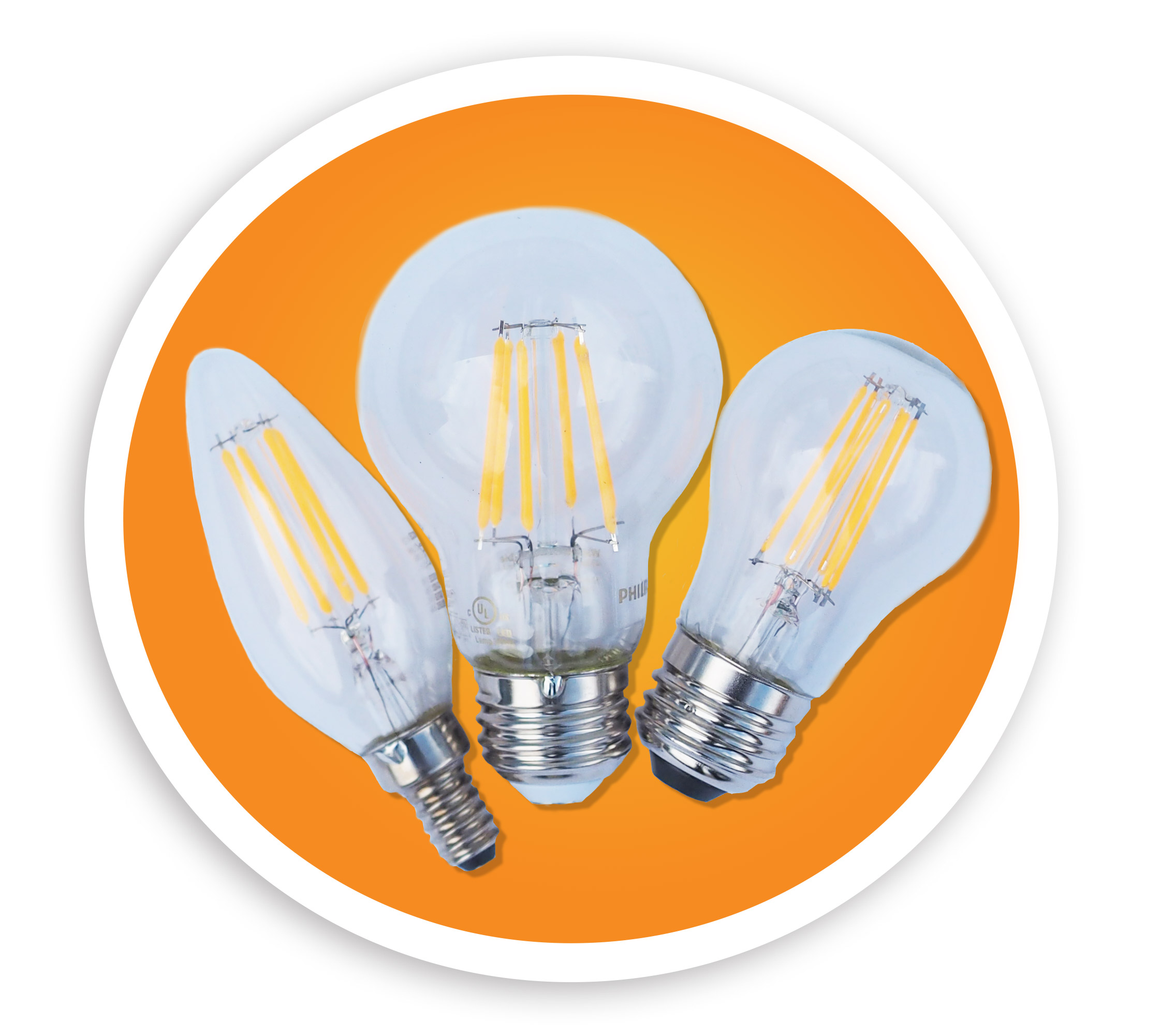 Picture of 3 LED light bulbs. NLR recycles LED bulbs and many other style lamps.