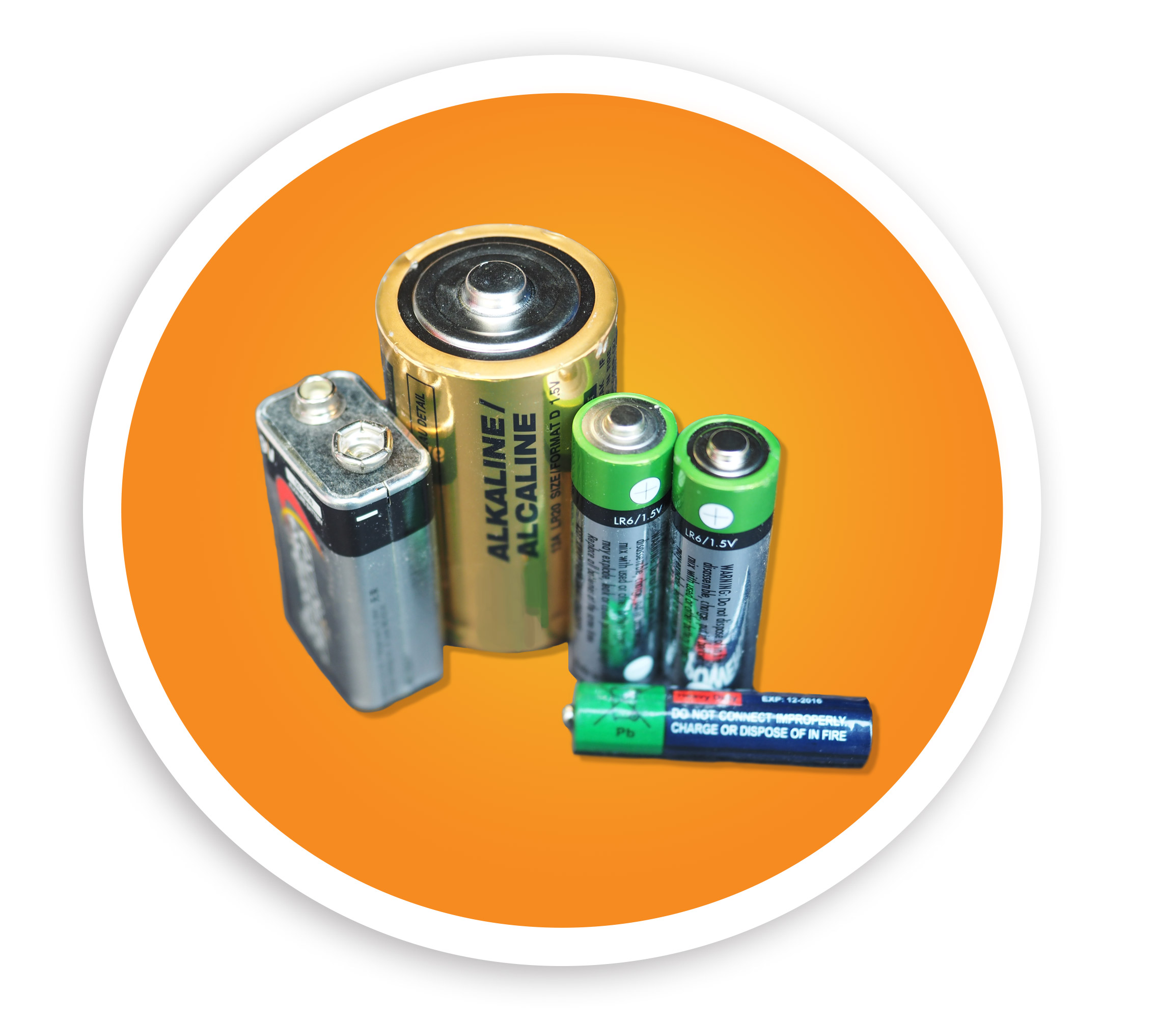 Picture of several different sizes of alkaline batteries. NLR accepts alkaline, lithium ion, nicad, lead acid, and other batteries.