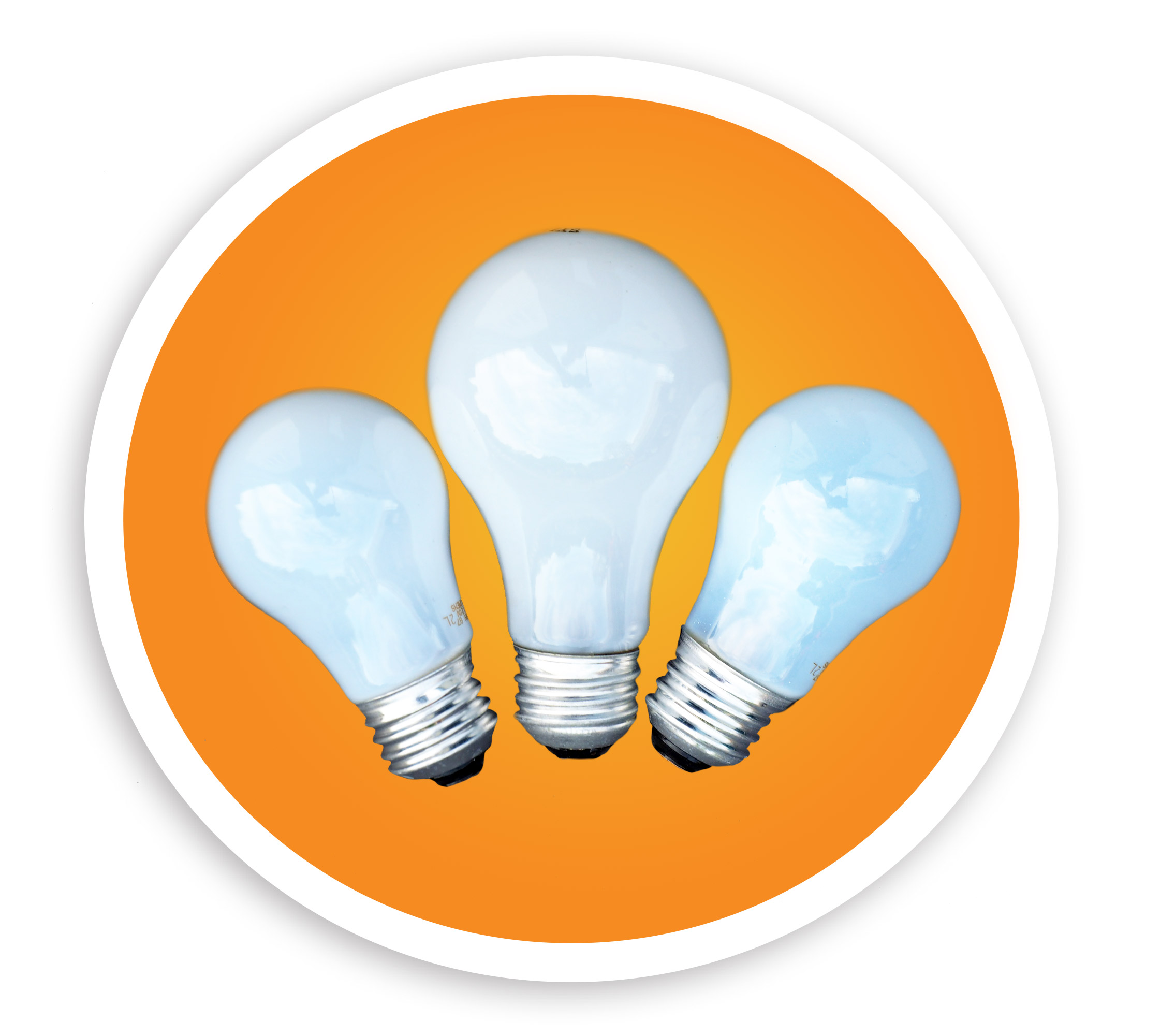 A picture of three different incandescent bulbs. NLR recycles all incandescent bulbs and other lamps.