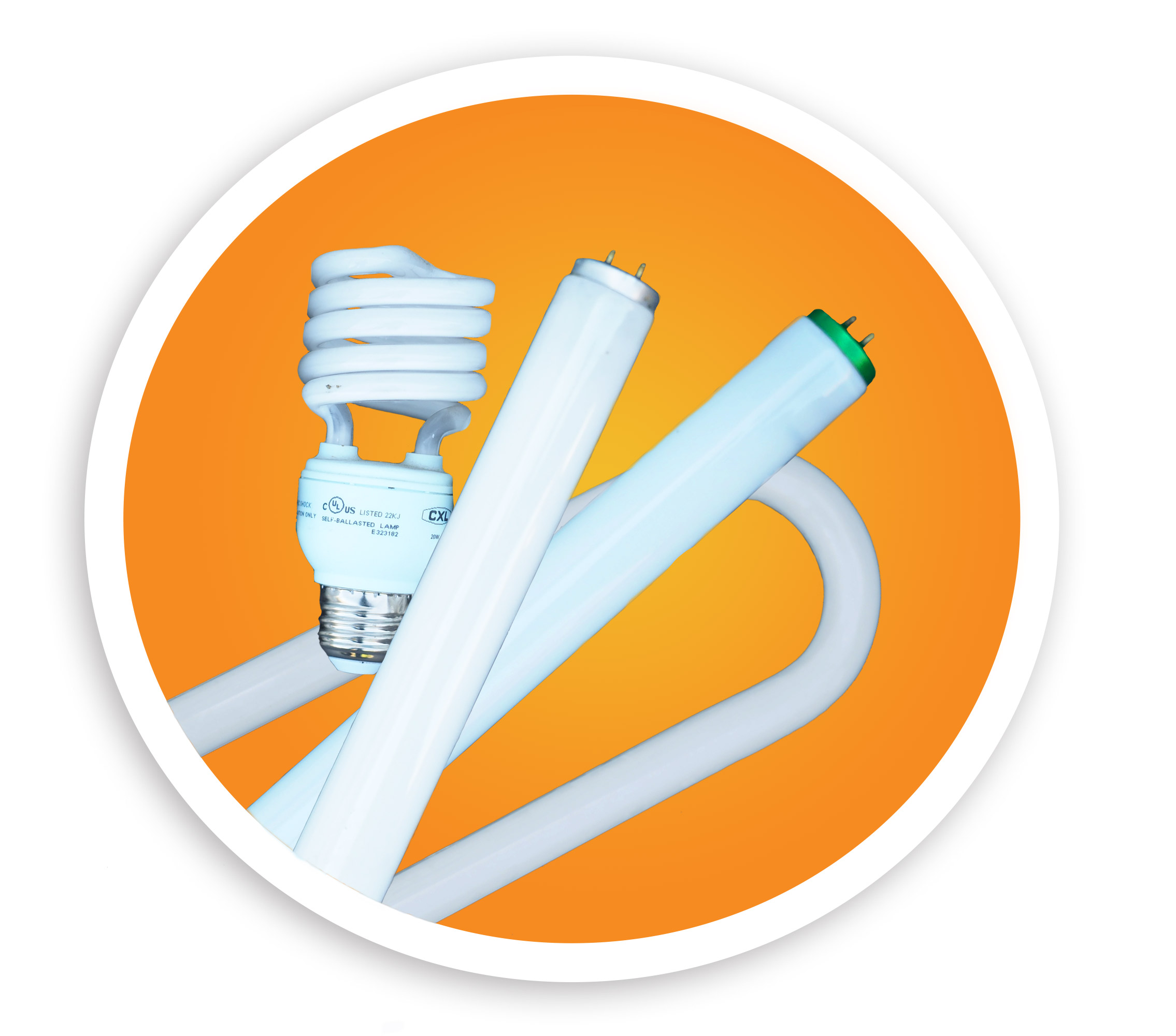 Picture of a CFL bulb, two linear lamps, and a U-lamp. NLR recycles many styles of mercury containing lamps and bulbs.