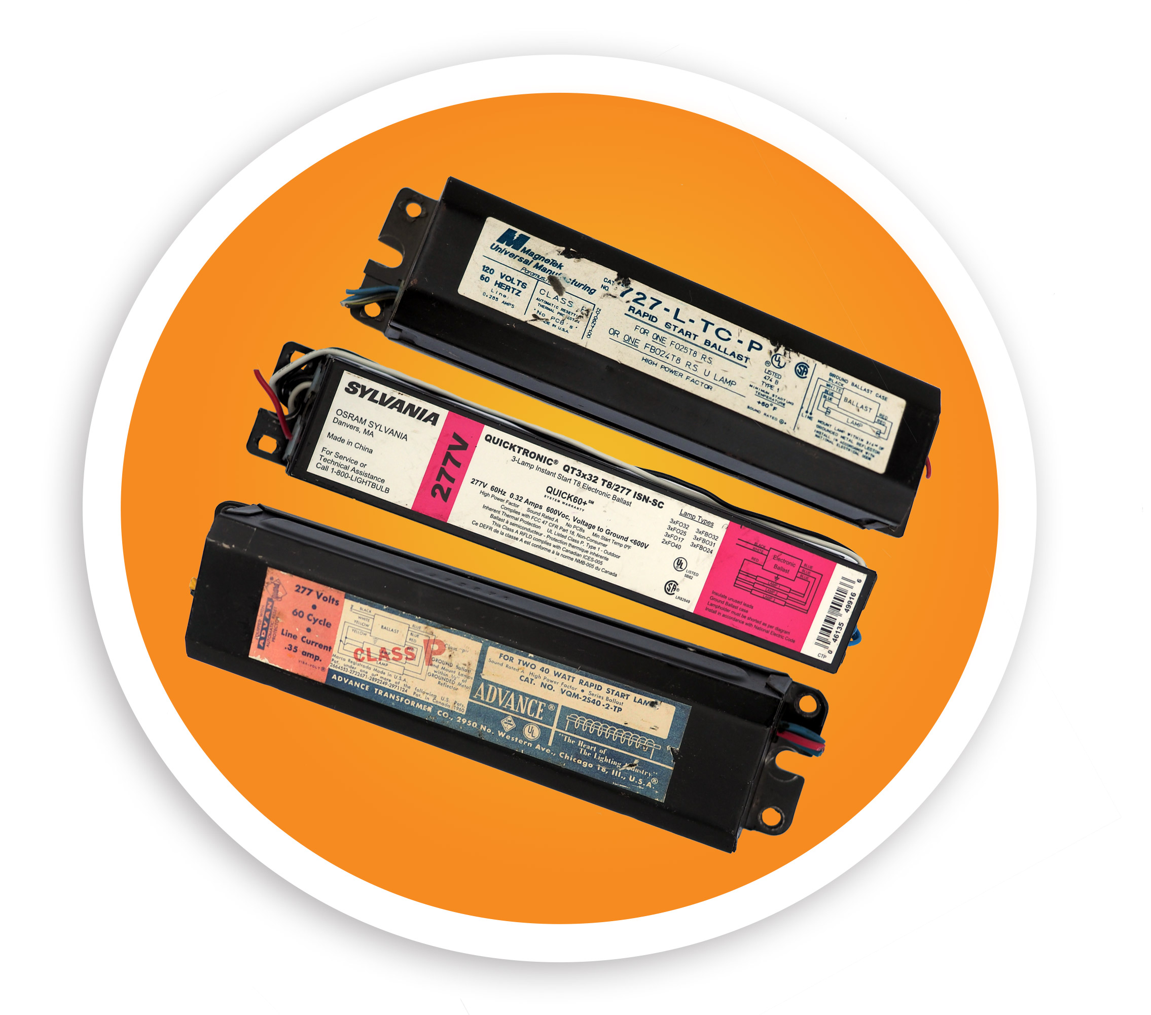 A picture of pcb, non-pcb, and electronic ballasts. NLR accepts both pcb and non-pcb ballasts.