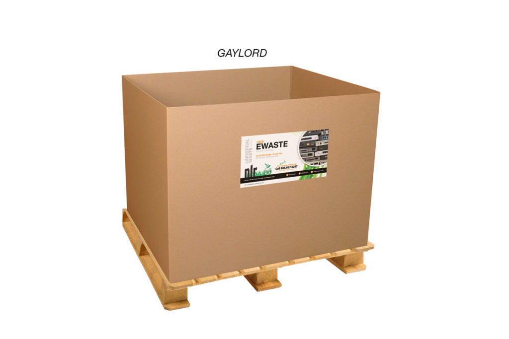 A picture of NLR's gaylord container. It is used to recycle bulk electronic waste. NLR uses galord containers to safely transport and recycle e-waste.