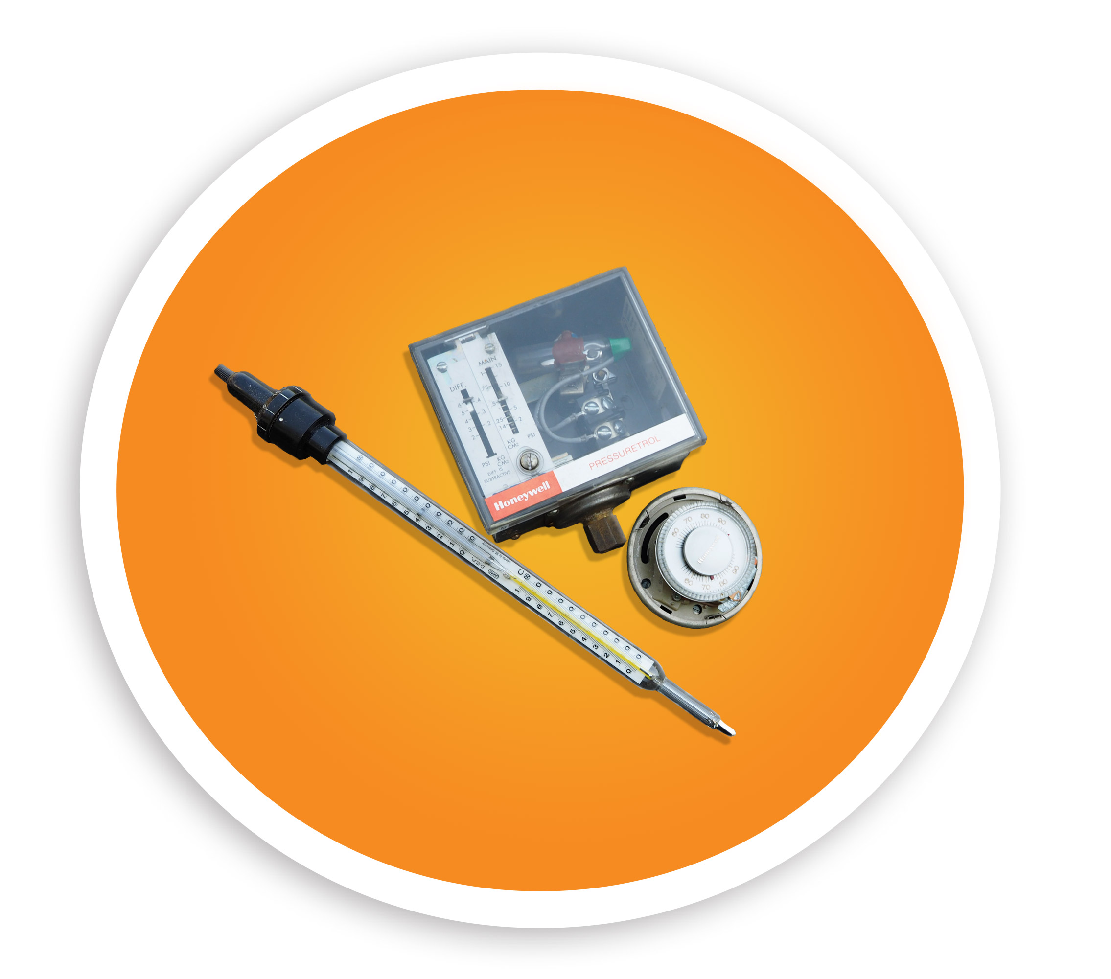 Picture of a thermometer, thermostat, and mercury switch. NLR recycles mercury containing devices.