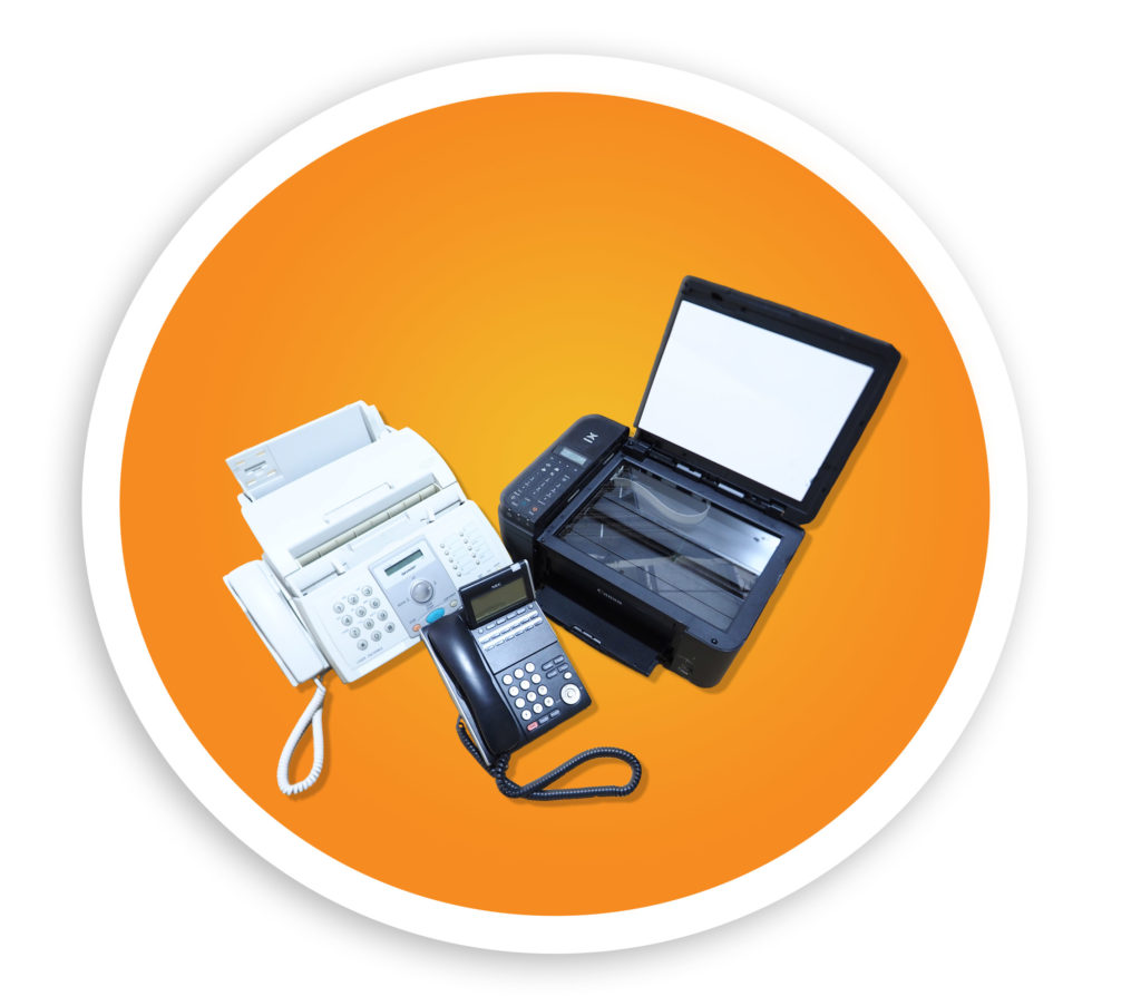 A picture of a printer, fax machine, and office phone. NLR recycles E-waste including many different types of office electronics.