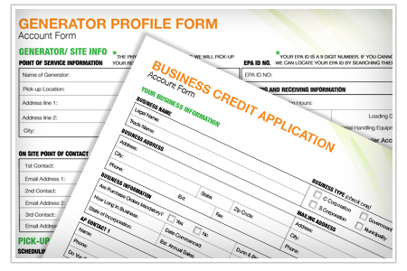 Picture of the business credit application and generator profile form. NLR requires companies fill out two account forms before we can recycle thier universal waste.