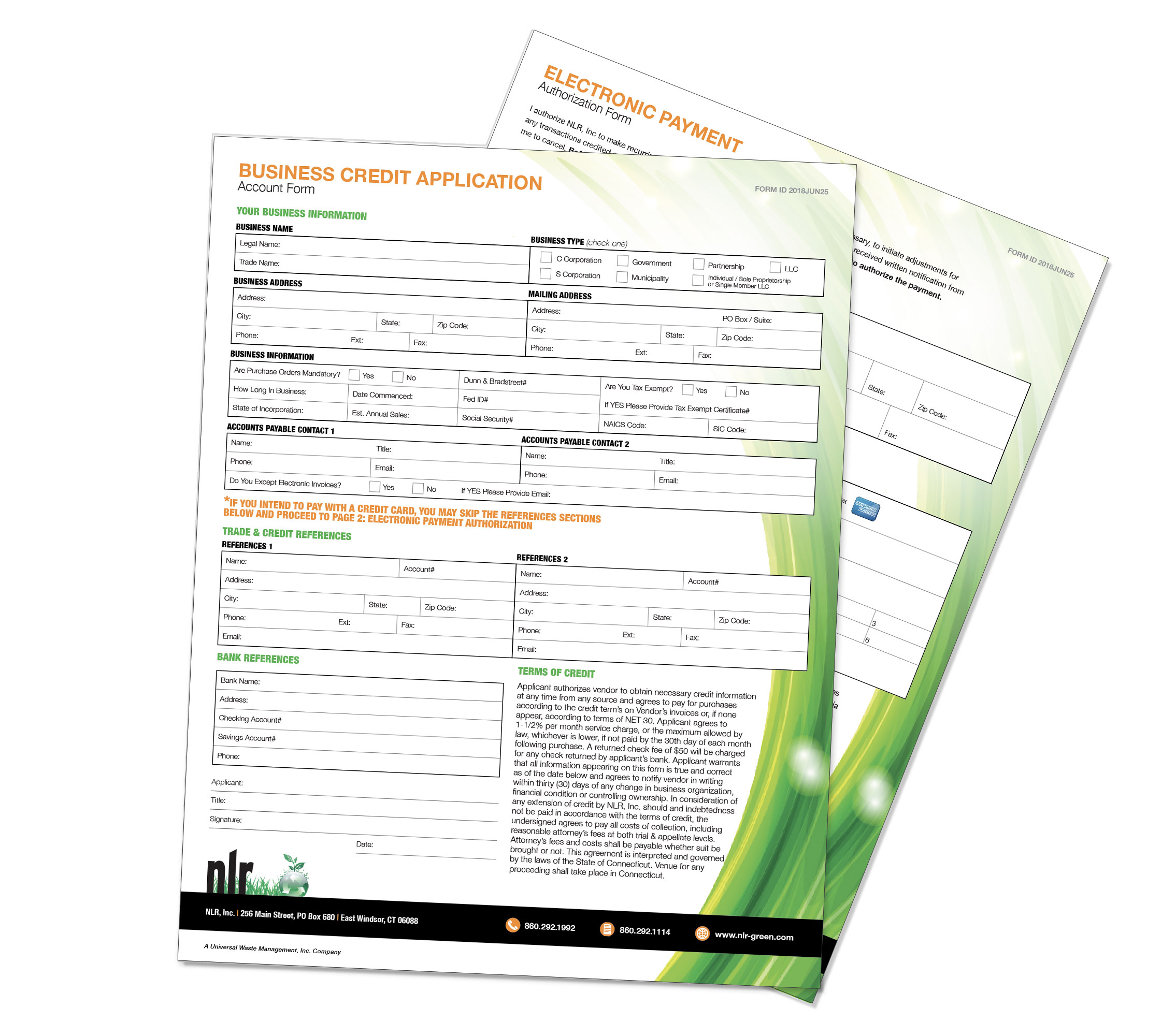 A picture of NLR's business credit application. NLR requires customers to fill out a business credit form to accurately process payments and recycle your universal waste.