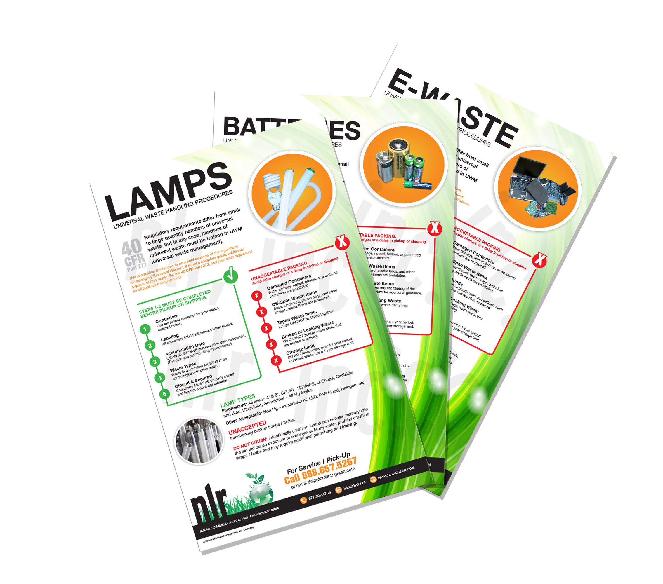A picture of NLR's english compliance posters. NLR provides compliance poster for our customers to help their waste handlers recycle thier universal waste safely.
