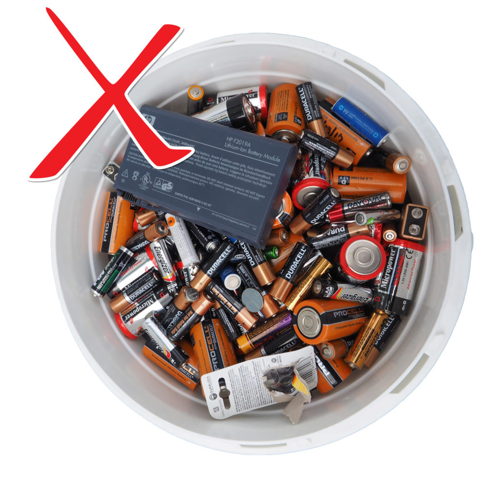 Picture of batteries in a bucket with an X in the top left corner. This is a picture of the wrong way to store and ship batteries. There are mixed chemistries (alkaline, lithium, and button batteries) without thier terminals taped.