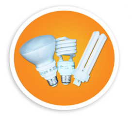 A picture of two compact fluorescent bulbs and one pin lamps. NLR recycles compact fluorescent cfl bulbs and pin lamps.
