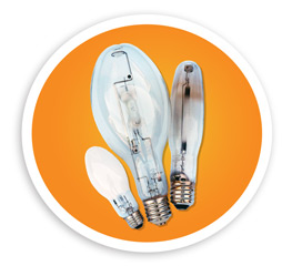A picture of hid and hps light bulbs. NLR recycles all styles of High Intensity Discharge HID lamps and High Pressure Sodium HPS lamps.