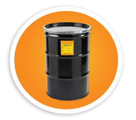 A picture of a steel drum with a hazardous waste label on it. NLR recycles hazardous waste lamps and lamps from drum top crushers.