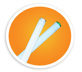 A picture of two linear fluorescent tubes. NLR recycles linear fluorescent lamps and bulbs.