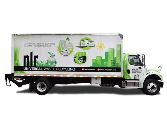 A picture of the side of one of NLR's box trucks wrapped in green and white.