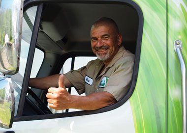 A picture of one of NLR's most experienced drivers. Our drivers are professionally trained and certified waste transporters.
