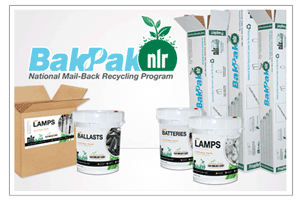 A picture of several mail-back recycling containers. NLR offers mail-back recycling for lamps, batteries, and other universal waste.