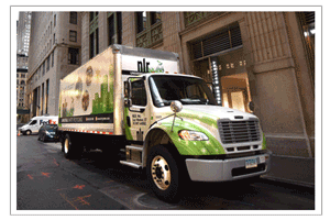 A picture of one of NLR's box trucks. NLR offers on-site pick-ups for your recycling.