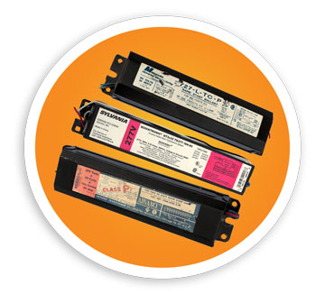 A picture of pcb, non-pcb, and electronic ballasts. NLR recycles both pcb and non-pcb ballasts.