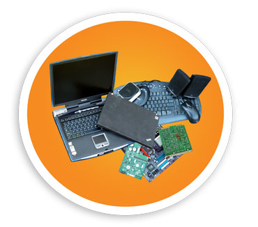 picture of a oval containing several E-Waste items including laptops, computer accessories, and circuit boards. NLR recycles many different types of electronics and E-Waste.