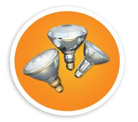 A picture of three PAR flood bulbs. NLR recycles PAR flood lamps and bulbs.