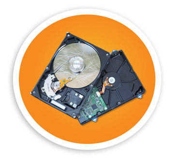 A picture of two hard drive back and front. NLR can securely NLR can help securely dispose of your hard drives and offer destruction services.