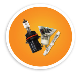 A picture of three different halogen style bulbs. NLR recycles halogen bulbs.