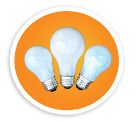 A picture of three incandescent bulbs. NLR recycles regular incandescent bulbs in addition to fluorescent lamps.