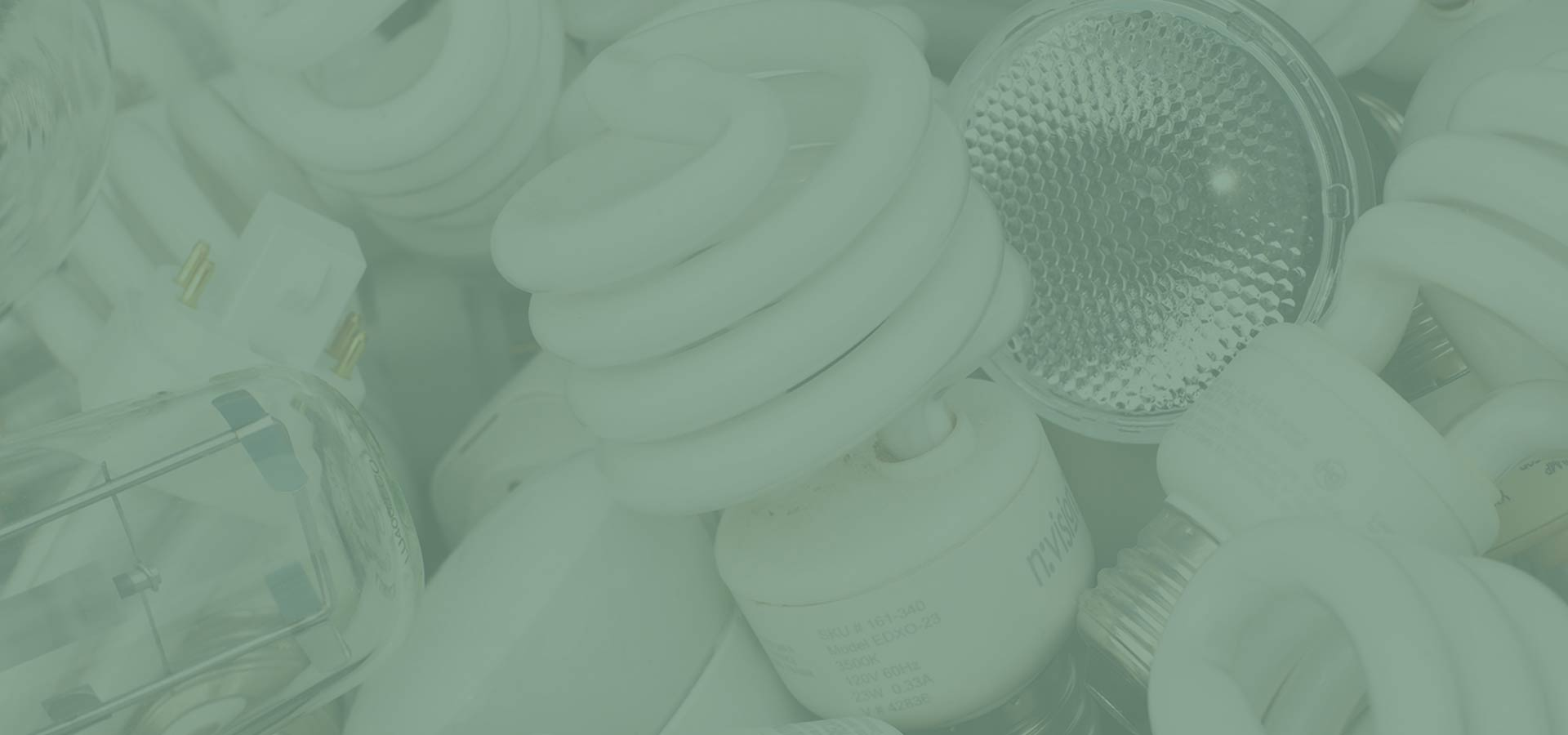 A picture of various mercury containing bulbs including CFLs, halogens, high pressure sodium, and pin lamps. NLR recycles lamps, bulbs, and fluorescent lights.