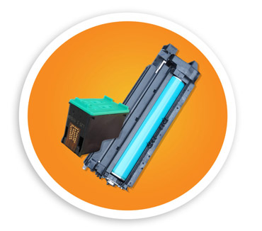 A picture of one small ink cartridge and larger toner cartridge. NLR can recyle your ink and toner along with any office electronics.