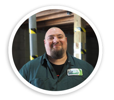 A picture of Sean. Sean is an Operations/ Production Supervisor. He is responsible for running the lamp recycling facility.