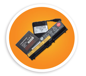 A picture of three different styles of lithium ion batteries. NLR recycles lithium ion batteries and other battery types.