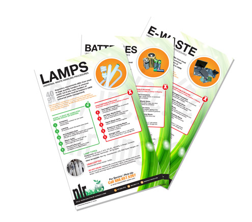 A picture of three universal waste compliance posters for lamps, batteries, and ewaste stack on top of each other. NLR provides universal waste compliance posters for fluorescent lamp recycling, battery recycling, electronics recycling, ballast recycling, and mercury device recycling.