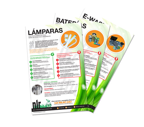 A picture of three spanish universal waste compliance posters. NLR provides universal waste compliance posters for fluorescent lamp recycling, battery recycling, electronics recycling, ballast recycling, and mercury device recycling.