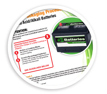 A picture of portion of the lead acid battery packagin procedures flier. NLR provides knowledge resources for battery recycling.