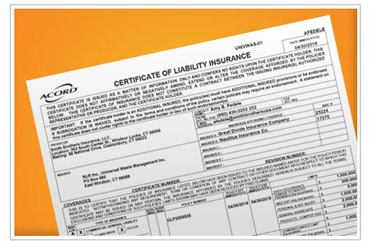 A preview of the certificate of liability insurance. NLR is fully insured to recycle your universal waste.