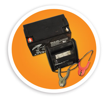 A picture of a lead acid battery and battery backup. NLR recycles lead acid batteries and battery backups.